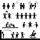 счастливые дети, играя значок символ знак пиктограмма — Cтоковый вектор