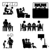 Casa actividad familiar casa de baño durmiendo enseñando a comer viendo pictograma de señal tv juntos icono símbolo — Vector de stock