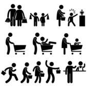 Familie winkelen shopper verkoopbevordering pictogram symbool teken pictogram — Stockvector