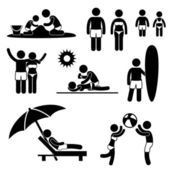 Family Summer Beach Holiday Vacation Icon Symbol Sign Pictogram — Stock Vector