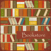Vintage Bookstore Background — Stock Vector