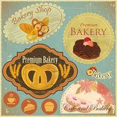 Vintage bäckerei und café-etiketten — Stockvektor