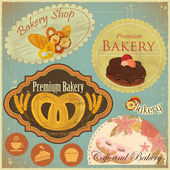 Set of Vintage Bakery and Cafe Labels — Stock Vector