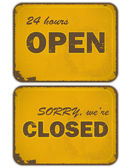 Set of grunge yellow signs: open - closed - 24 hours — Stock Vector