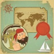 Retro card - pirate and world map - Stock Vector