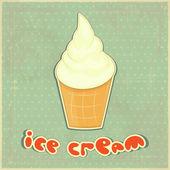 复古背景上的冰淇淋香草 — 图库矢量图片