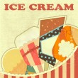 Ice Cream Retro color card - Stock Vector