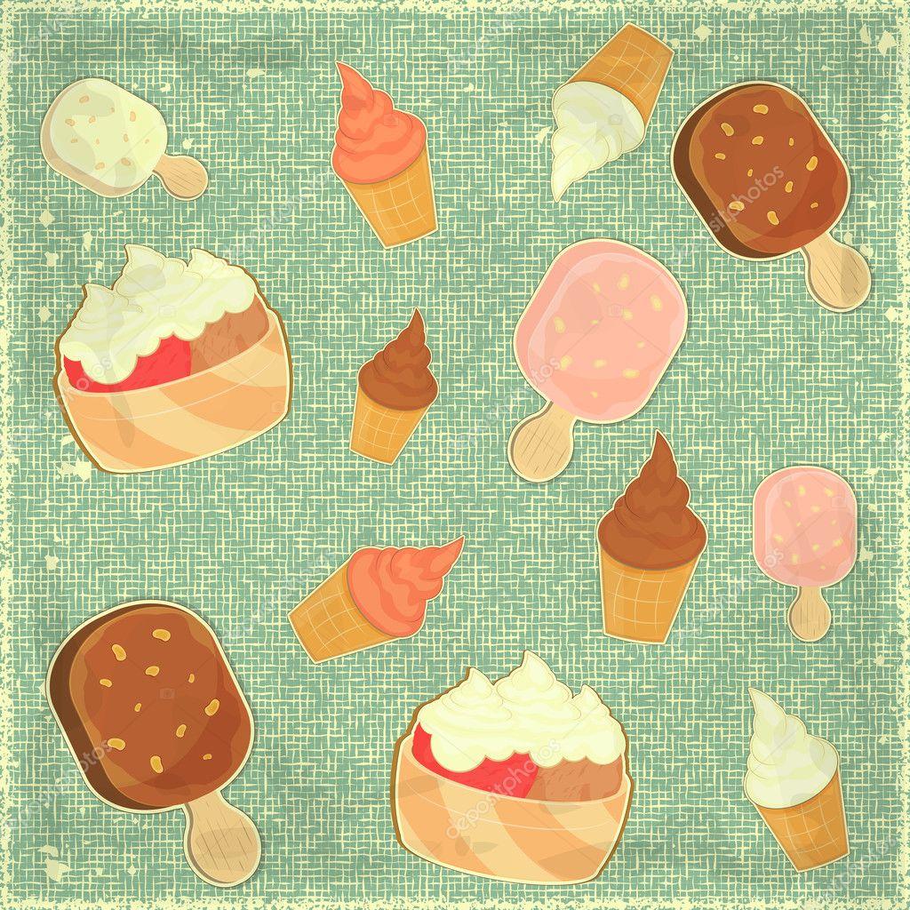 Seamless Ice Cream Background Vintage Style: Vettoriali Stock © Elfivetrov