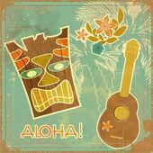 ビンテージ ハワイアン カード — ストックベクタ