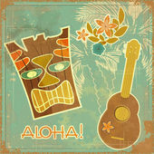 Vintage Hawaiian card — Stock Vector