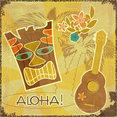 Retro Hawaiian postcard — Stock Vector