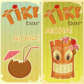 Retro stickers for Tiki bars — 图库矢量图片