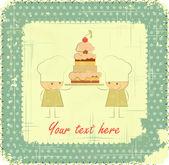 Vintage Menu Card Design with chef, birthday card — Stock Vector