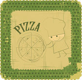 Vintage Pizza Menu Card Design with chef — Stock Vector