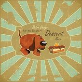Cartoon Dog and Cake on Grunge Background — Stock Vector
