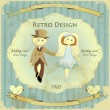Vintage Design Wedding Card - Imagen vectorial