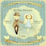Vintage Design Wedding Card — Stock Vector