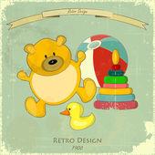 Vintage Design Baby Card — Stock Vector