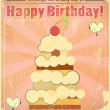 Vintage birthday card with big berry cake — Imagen vectorial
