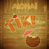 Retro Design Tiki Bar Menu on wooden background — Stock Vector