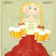 Retro Design Beer Menu - blond girl with beer — Stock Vector