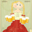 Stock Vector: Retro Design Beer Menu - blond girl with beer