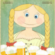 Retro Beer Menu - blond girl with beer — Stock Vector