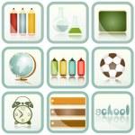 simgeler kümesi okul malzemeleri — Stok Vektör