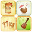Hawaiian icons set - Stock Vector