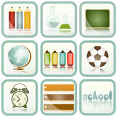 School Supplies icons set — Stock Vector