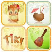 Conjunto de iconos hawaiano — Vector de stock