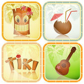 Hawaiian icons set — Stock Vector