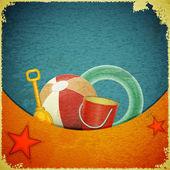 Plaj oyuncakları deniz arka planda - retro kartpostal — Stok Vektör