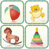 Baby toys icons — Stock Vector