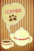 Xícara de café e o bule de café — Vetor de Stock