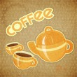 Two coffee cups and coffee pot — Stock Vector