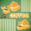 Coffee cups, coffee pot and coffee beans — Stock Vector