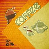 Tazas de café, taza de café, molino de café y granos de café — Vector de stock