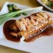 Vietnamese pork and crab spring roll with sauce — Stock Photo