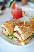 Club sandwich chicken burger with ham — Stock Photo