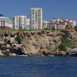 Stock Photo: Panorama of the beach with a waterfall in Turkey