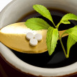 Stevia rebaudiana, support for sugar,tablets - Stockfoto