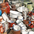 Stock Photo: Bric-a-brac market tinware
