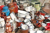 Bric-a-brac market tinware — Stock Photo