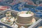 Bric-a-brac market with ceramic — Stock Photo