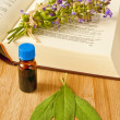 Sage with herbal tincture and medieval book — Stock Photo