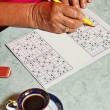 Pensioner with sudoku — Stock Photo #11777700