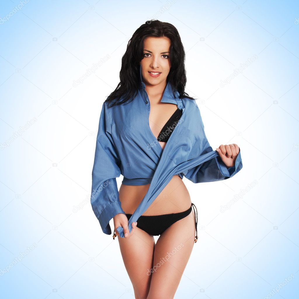 Fashion bikini girl model in man boyfriend shirt after bath with healthy glossy hair dancing strip - showgirl  Stock Photo #11276841