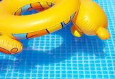 Kleurrijke speelgoed banden bij het zwembad zwemmen — Stockfoto