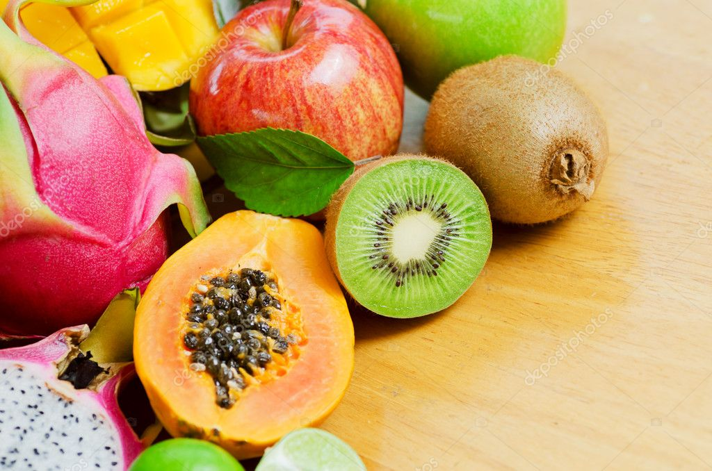 Set of tropical fruits. Shallow DOF. — Stock Photo #12308632